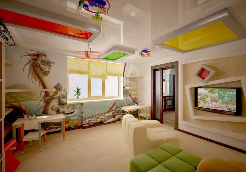Натяжной потолок в детской комнате 1